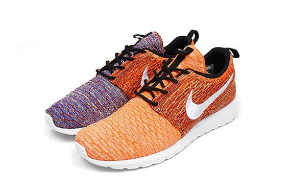 Nike Flyknit Roshe Run Random Yarn Color 677243-100 White Orange Purple Multi Color Shoes