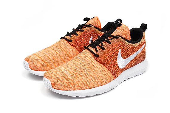 Nike Flyknit Roshe Run Random Yarn Color Orange White Black Shoes