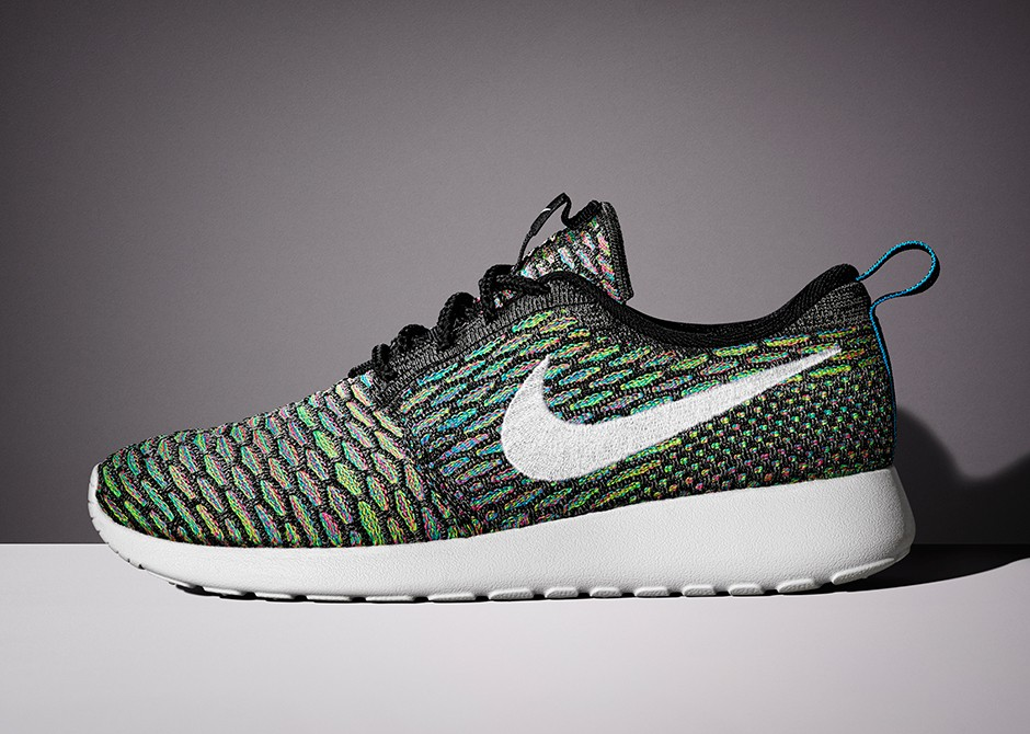 Nike Roshe Run Flyknit Green Black White Multi Color Shoes