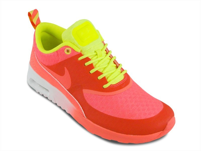 Womens Nike Air Max Thea Woven Qs Glow In The Dark Running Shoes Atomic Red/Volt - Style 627249 600