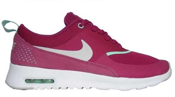 Womens Nike Air Max Thea Running Shoes Raspberry Red/Dusty Grey/Green/White - Style 599409 601