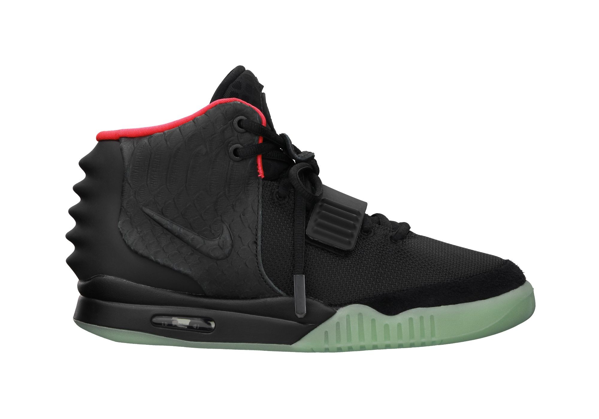 Nike Air Yeezy 2 Black Solar Red x Kanye West Kim Kardashian 508214-006 Sneakers Shoes Glow in the Dark
