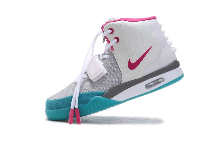 Nike Air Yeezy 2 White Platinum Wolf Grey Rose Cyan Blue Sneakers Glow in the Dark