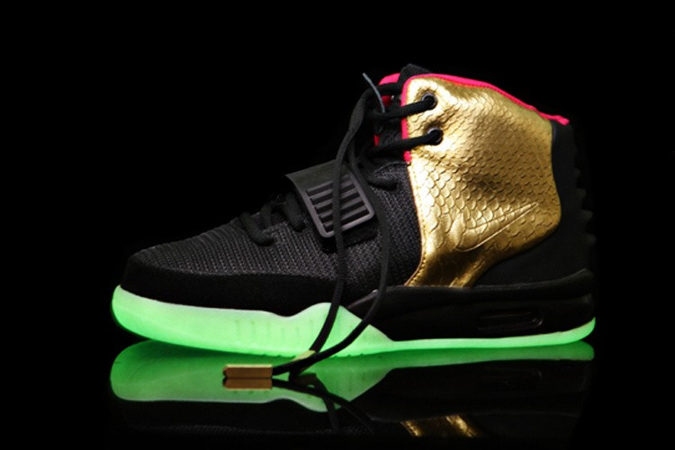 Nike Air Yeezy 2 Imperial Gold Black Sneakers Shoes Glow in the Dark