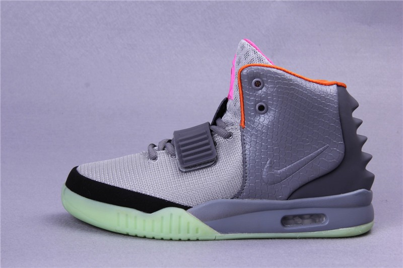 Nike Air Yeezy 2 Light Charcoal Platinum Black Orange Pink Sneakers Shoes Glow in the Dark