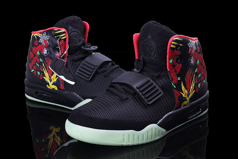 Nike Air Yeezy 2 Givenchy Black Solar Red Sneakers Shoes Glow in the Dark