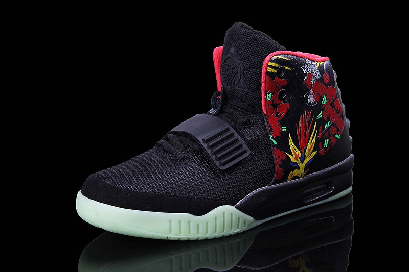 3434db9a5ca5f ... Nike Air Yeezy 2 Givenchy Black Solar Red Sneakers Shoes Glow in the  Dark ...