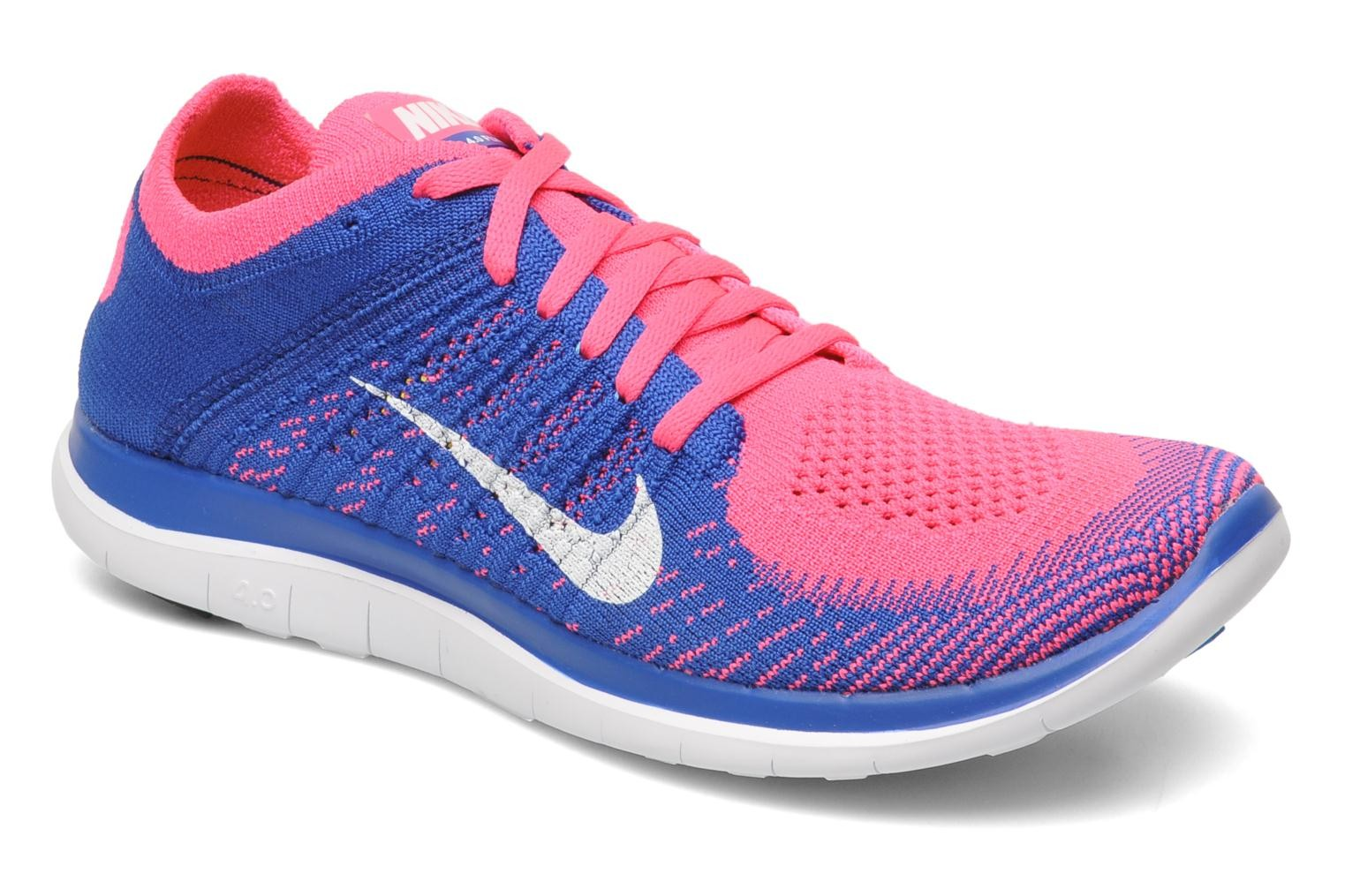 quality design 68f0c 0c9d0 Nike WMNS Free 4.0 Flyknit Pink Flash White-Game Royal Women s Running Shoe  ...